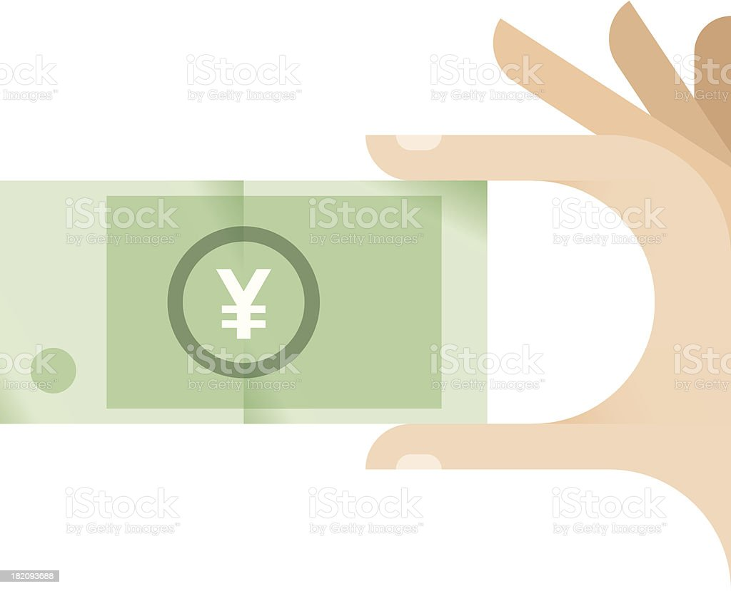 Human hand holding Chinese yuan or Japanese yen banknote royalty-free stock vector art