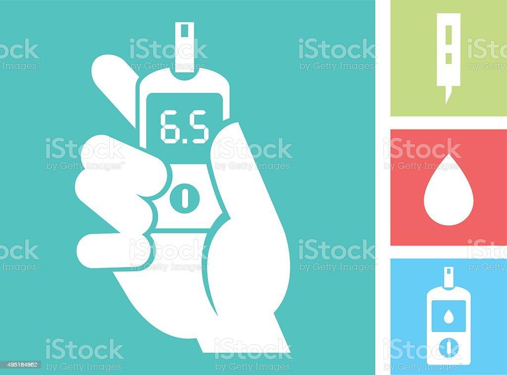 Human hand holding Glucose Meter - Blood Glucose Test vector art illustration