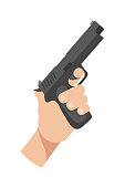 Human hand holding gun flat vector illustration. Police officer weapon isolated clipart on white background. Black firearm, ammunition design element. Killer with pistol, handgun for protection