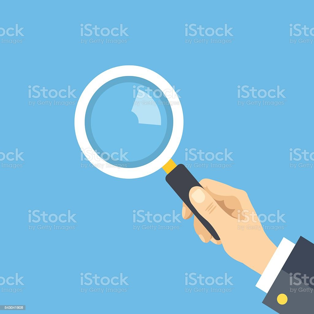 Human hand holding magnifying glass, Flat design graphic. Vector illustration vector art illustration