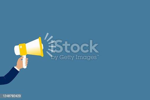 690508154 istock photo Human hand holding megaphone flat vector illustration. Business, marketing, social media, promotion, news, press concept. 1248792423