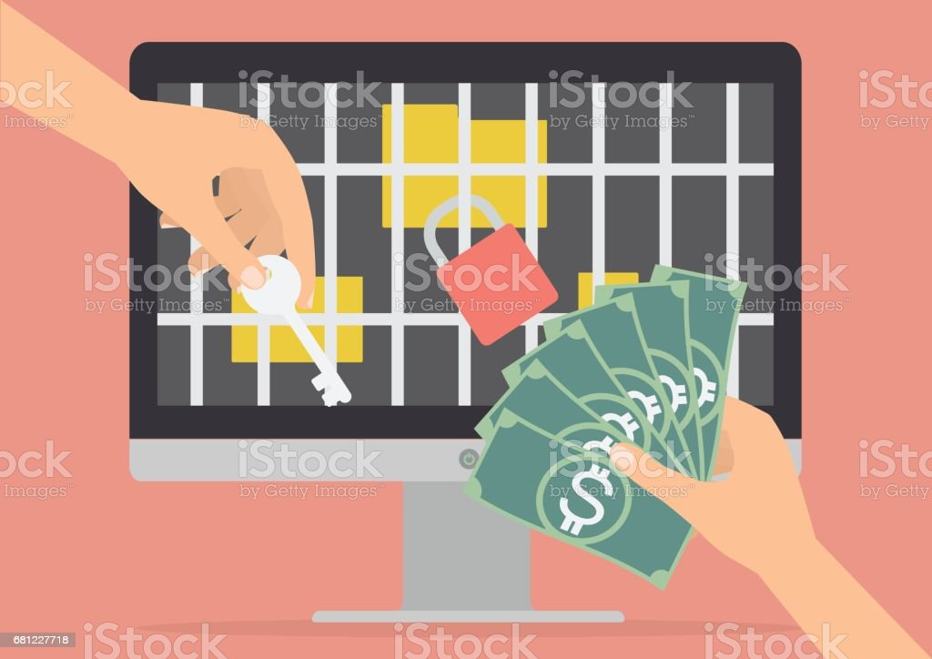 Human hand holding money banknote for paying the key from hacker for unlock jail for folder got ransomware malware virus computer. Vector illustration technology data privacy and security concept. - Royalty-free Business stock vector
