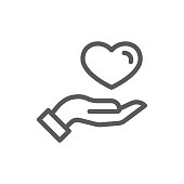 Human hand holding or giving heart thin line icon with editable stroke - vector illustration of pixel perfect outline symbol for valentine day or healthcare and charity concept.