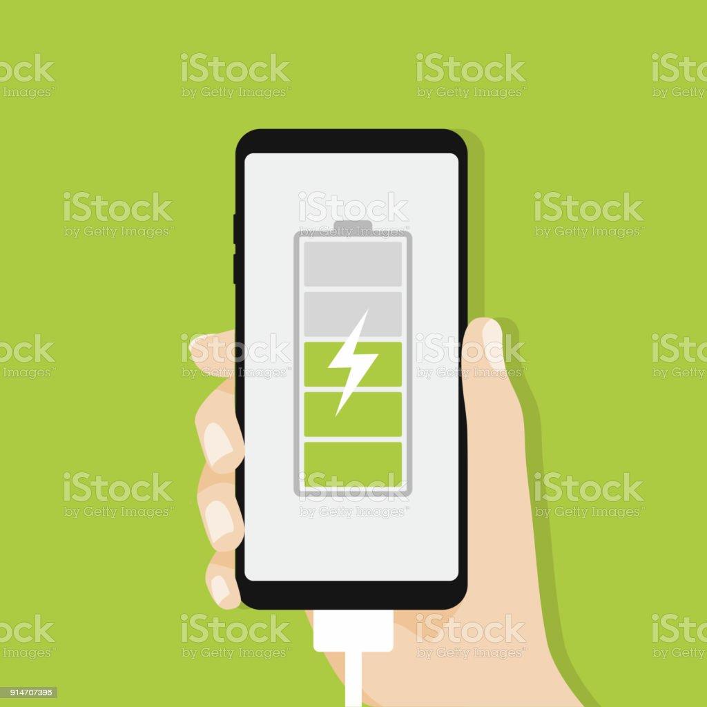 Human hand holding smartphone charging. vector art illustration