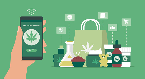 human hand holding smartphone using mobile app order CBD products online