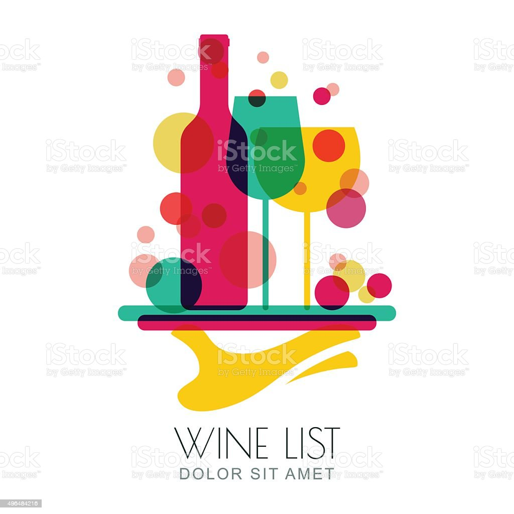 Human hand holding tray with wine bottle and two glasses. vector art illustration