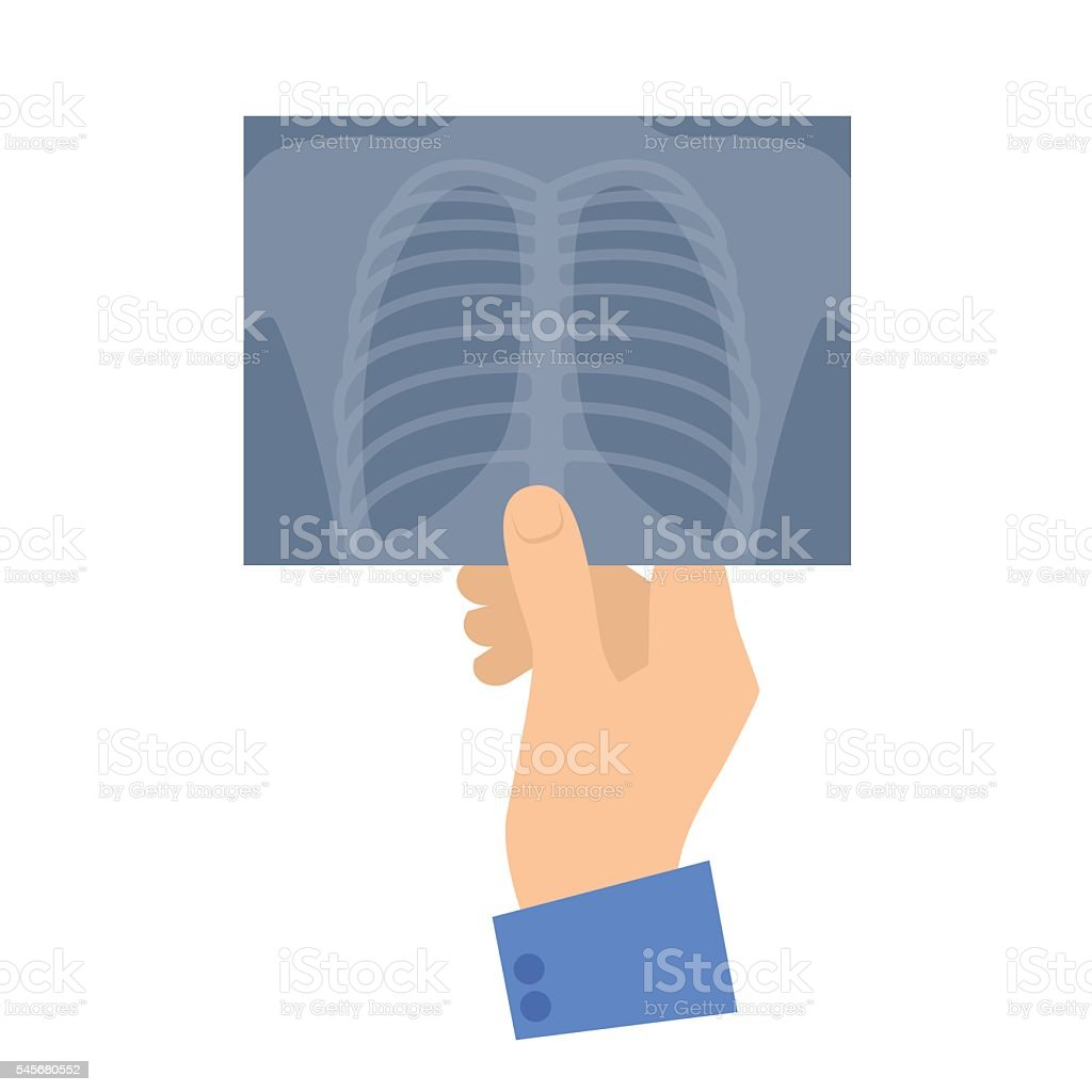 Human hand holding x-ray image. Medicine and healthcare vector art illustration