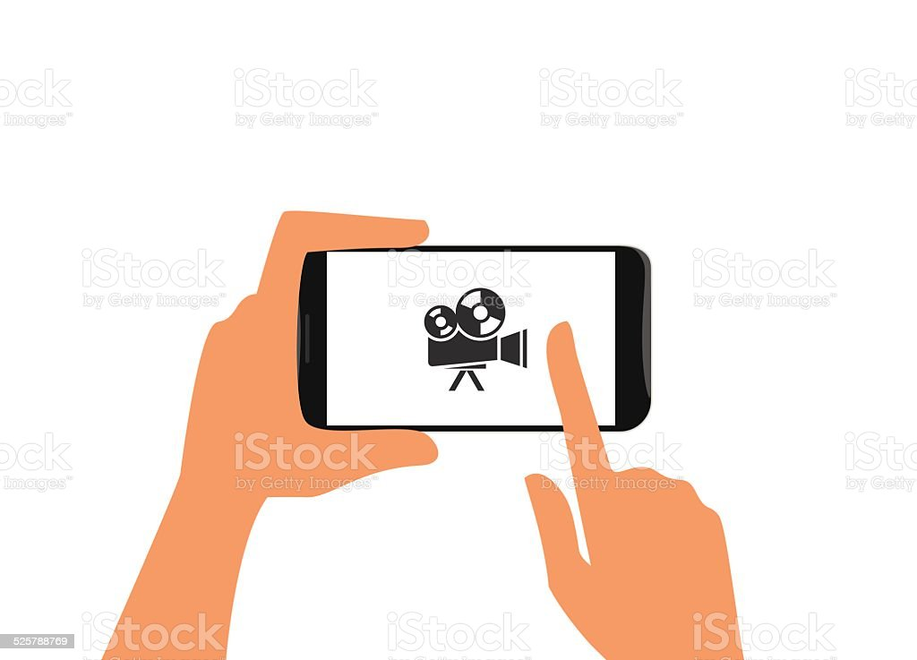 Human hand holds black smartphone with camera vector art illustration