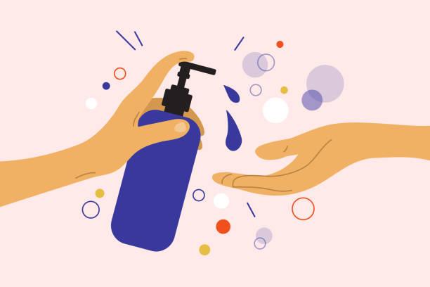 ilustraciones, imágenes clip art, dibujos animados e iconos de stock de la mano humana sostiene el dispensador con gel desinfectante o jabón líquido - hand sanitizer