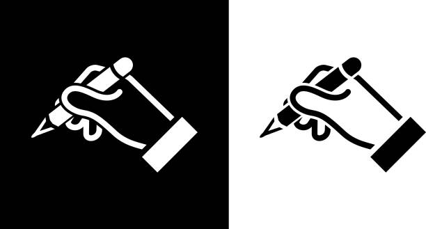 Human Hand Holds Pencil. Human Hand Holds Pencil.This royalty free vector illustration features the main icon on both white and black backgrounds. The image is black and white and had the background rendered with the main icon. The illustration is simple yet very conceptual. signing stock illustrations