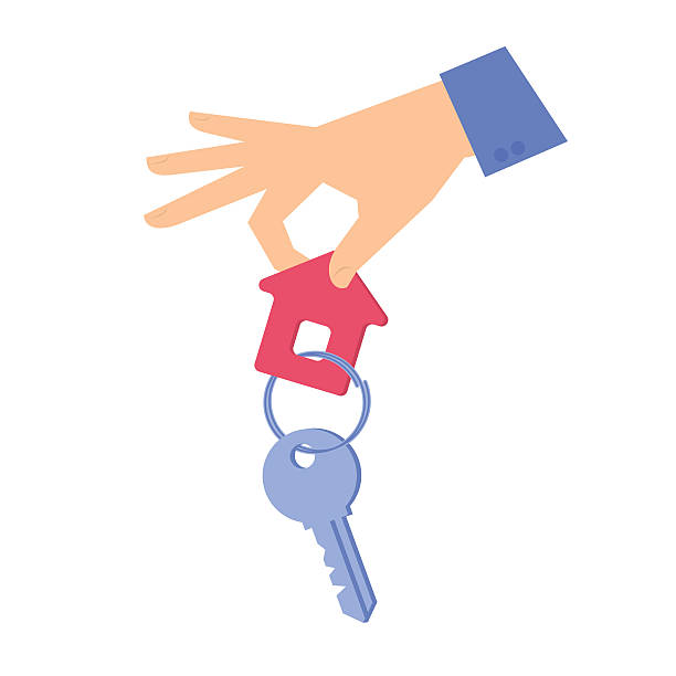 Human hand is giving a key with a keychain. Human hand is giving a key with a keychain. Flat concept illustration of a hand holding a house key with a trinket on a ring. Isolated vector infographic element for web, presentation, brochures. house key stock illustrations