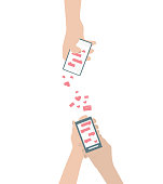 Human hand is sending love sms