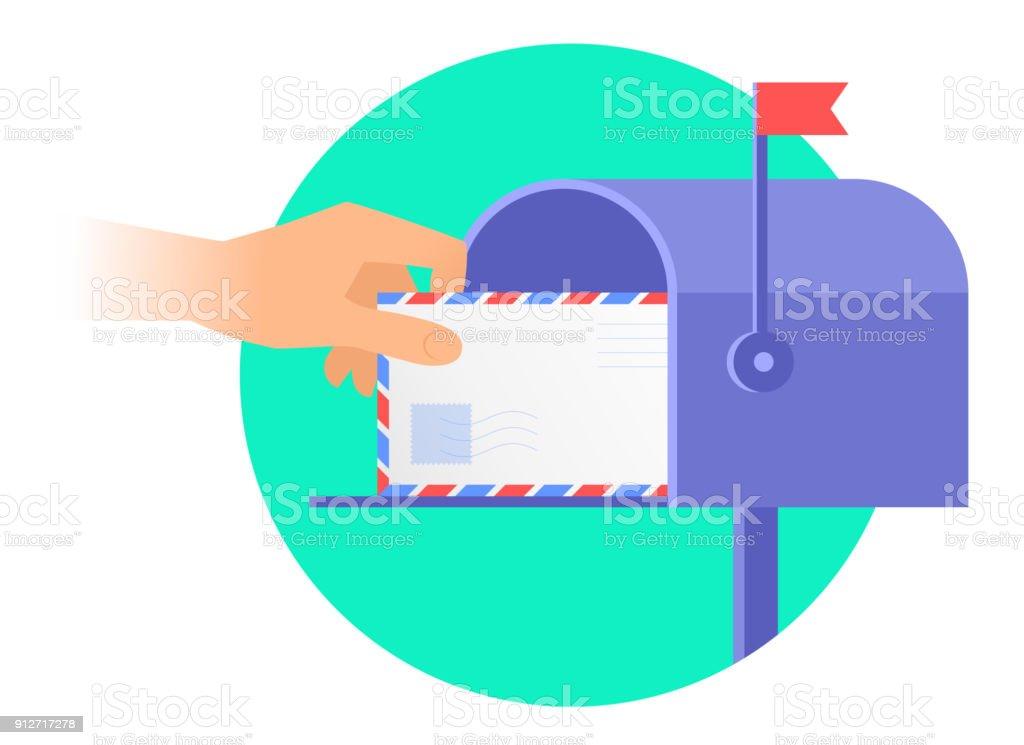 Menschliche Hand ergreift sie einen Umschlag aus einem Postfach. – Vektorgrafik