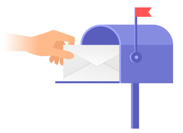 Human hand is taking out an envelope from a postbox. vector art illustration