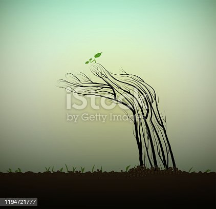 istock Human hand looks like tree with on soil and stretching the sprout to the sun, help the tree concept, save the forest idea, sculpture tree pray, vector 1194721777