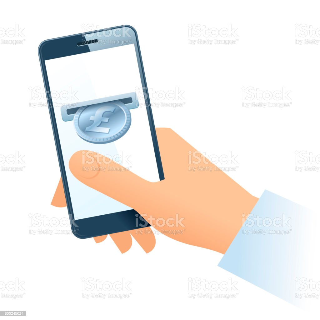 A human hand, mobile phone and silver pound coin. vector art illustration