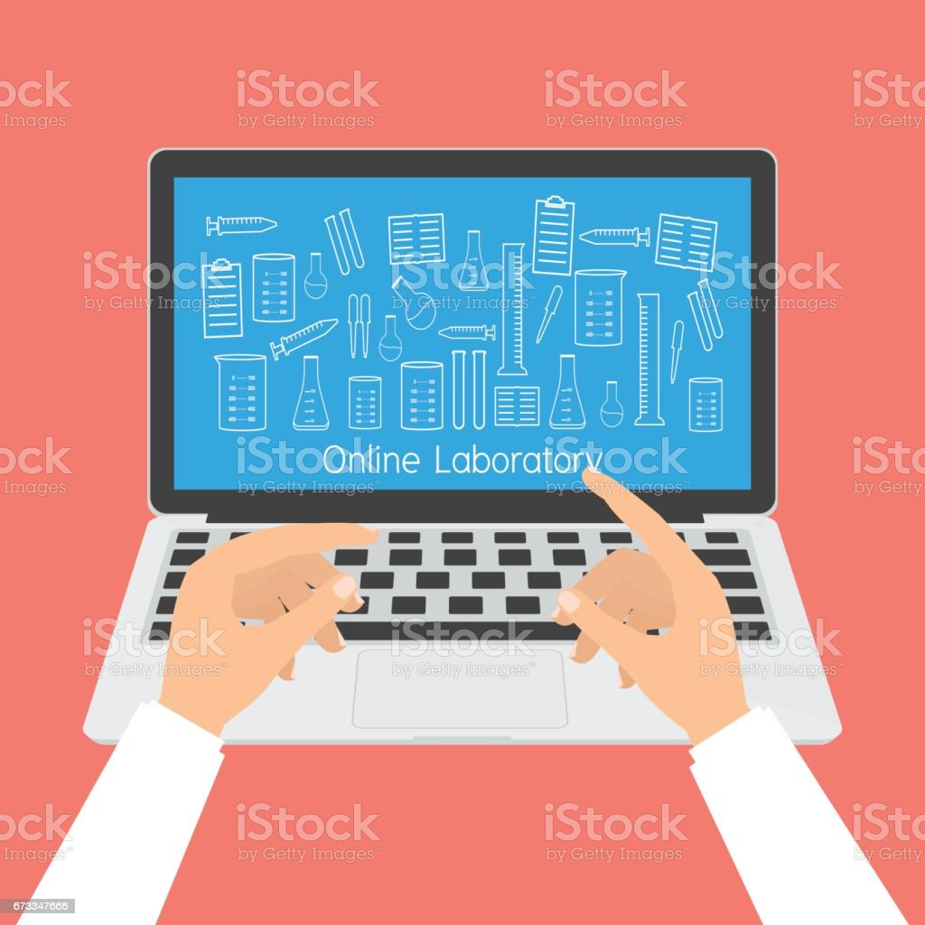 Human hand on computer laptop with laboratory accessories icon. Vector illustration fla design technology of online education concept. vector art illustration