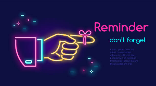 human hand pointing finger and red tape on the finger in neon light style with text reminder dont forget on dark purple background - reminder stock illustrations