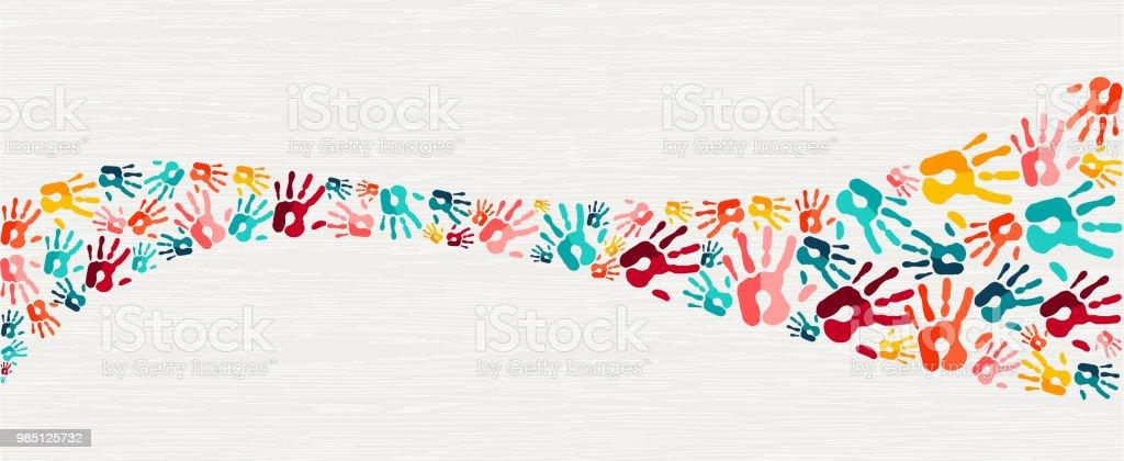 Human hand print color background art - Royalty-free Apoio arte vetorial