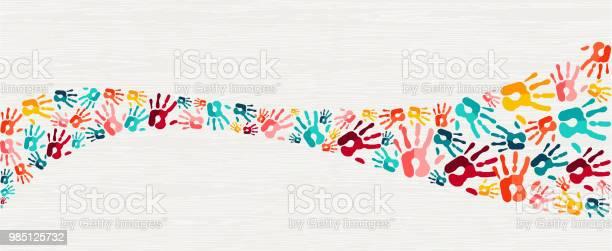 Human Hand Print Color Background Art - Arte vetorial de stock e mais imagens de Apoio
