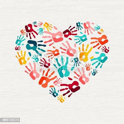 istock Human hand print heart shape love concept 985125274