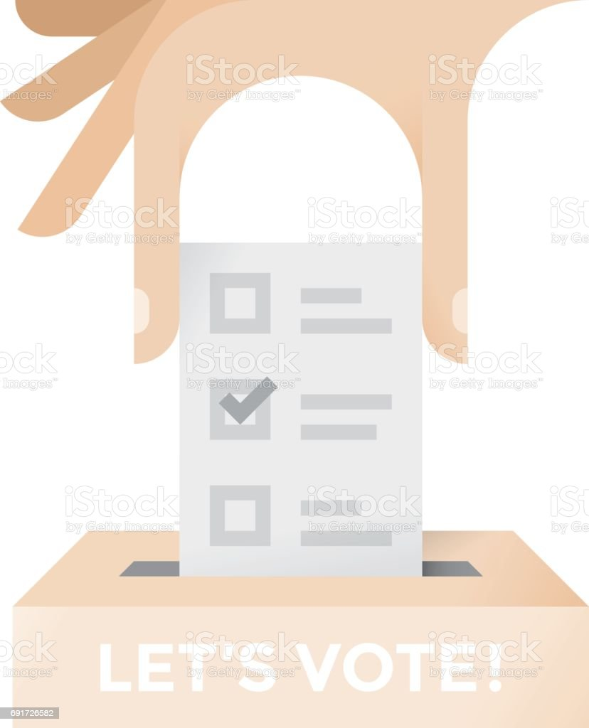 Human hand putting vote with check mark into a ballot box with human hand putting vote with check mark into a ballot box with lets vote text biocorpaavc