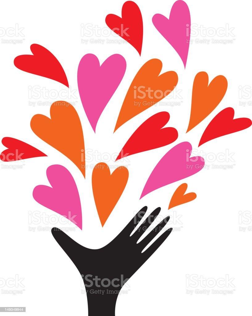 Human hand sending out love vector art illustration