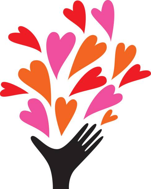 Human hand sending out love vector art illustration