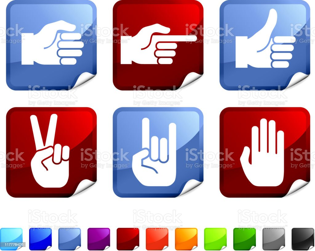human hand signs royalty free vector icon set stickers royalty-free stock vector art