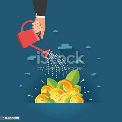 istock Human hand watering field full of money dollar coins 516655358