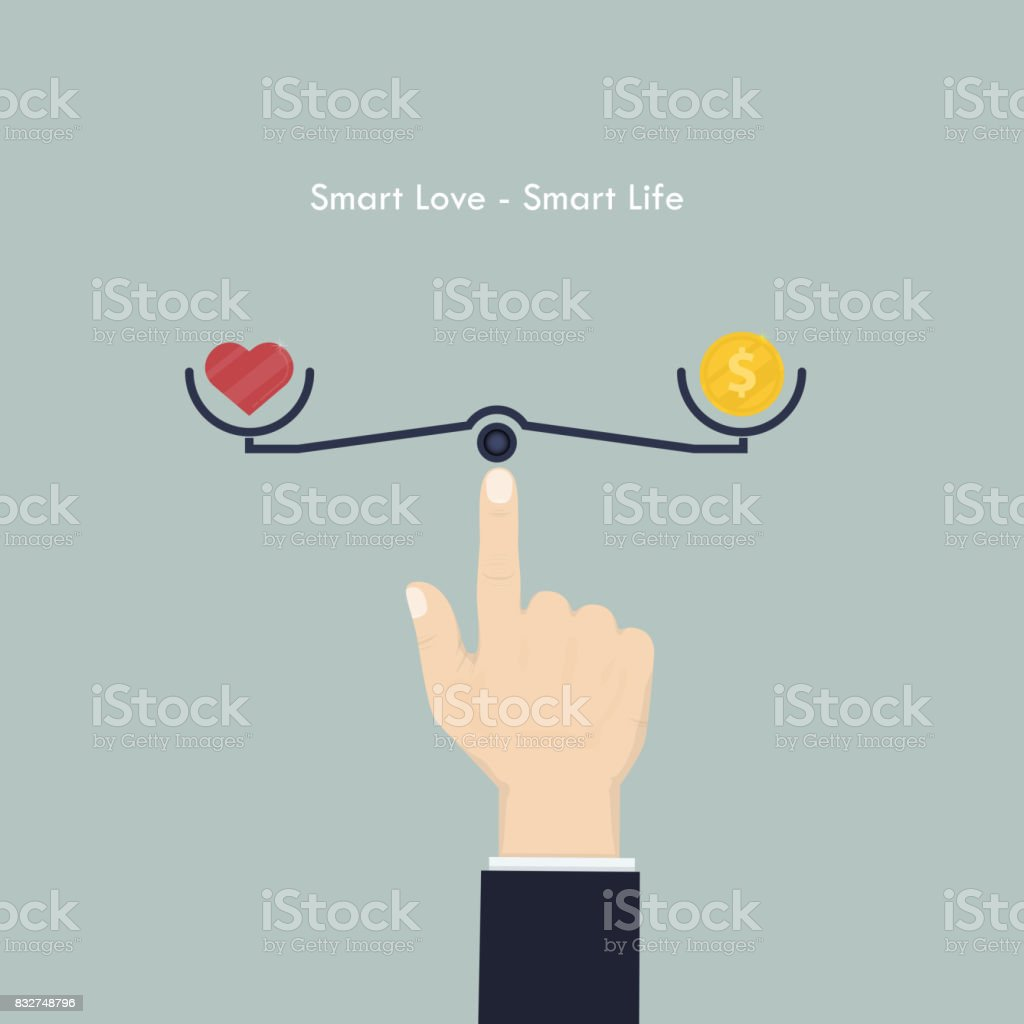 Human hand with heart sign and money coin icon.Smart love and Smart life concept.Work life balance concept.Vector illustration. vector art illustration