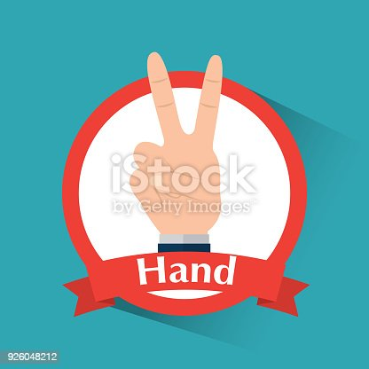 Human Hand With Love And Peace Victory Symbol Banner Stock Vector
