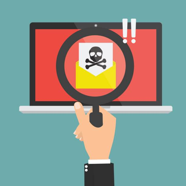 Human hand with magnifying glass found spam email with skull and cross bones computer virus on laptop computer. Vector illustration cybercrime concept design. vector art illustration