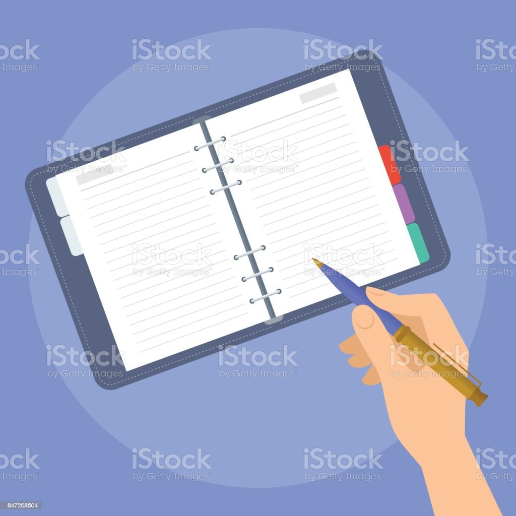 Human hand with pen and paper business planner.