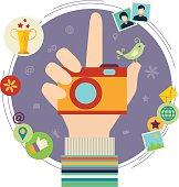 Human hand with photo camera