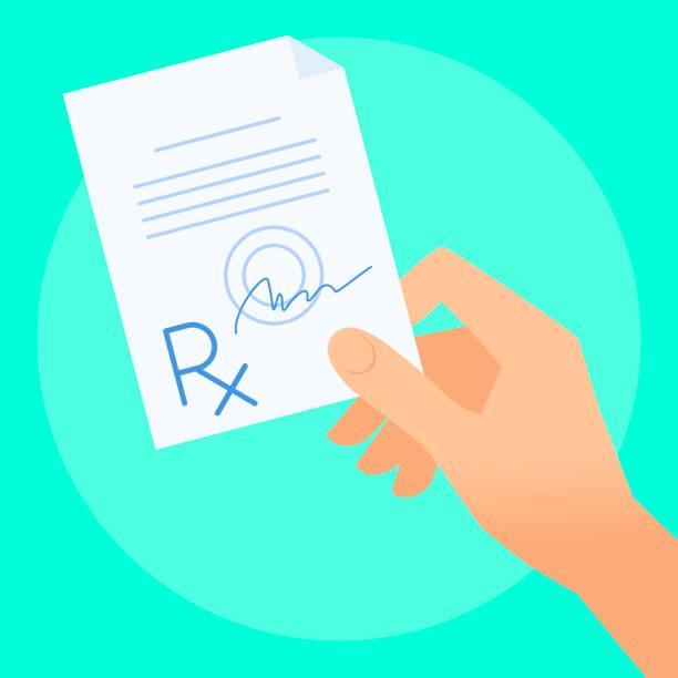 illustrazioni stock, clip art, cartoni animati e icone di tendenza di human hand with rx prescription. - farmaco su prescrizione