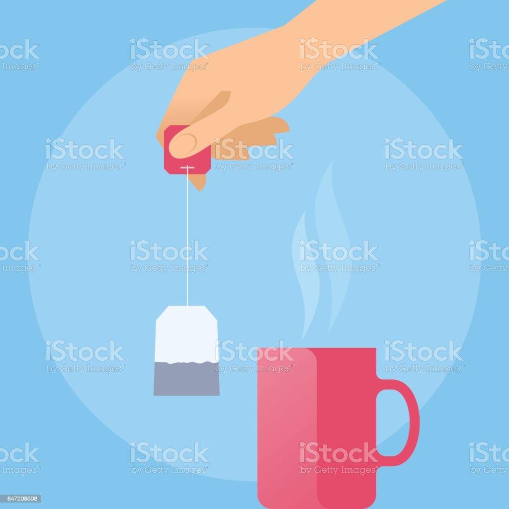 Human hand with tea bag and hot red mug. vector art illustration