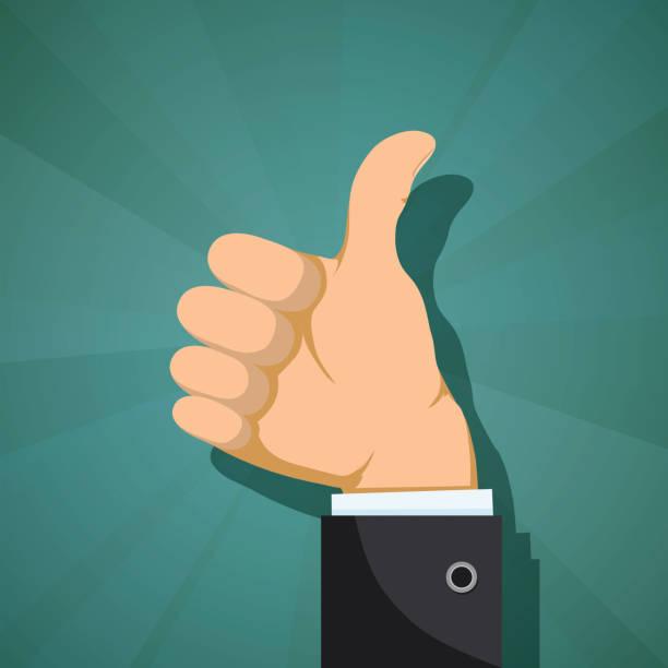 Human hand with thumb up. Human hand with thumb up. Customer feedback concept. Stock vector flat graphics. good news stock illustrations