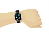 Human hand with wireless smartwatch with time, pulse, steps, wifi.