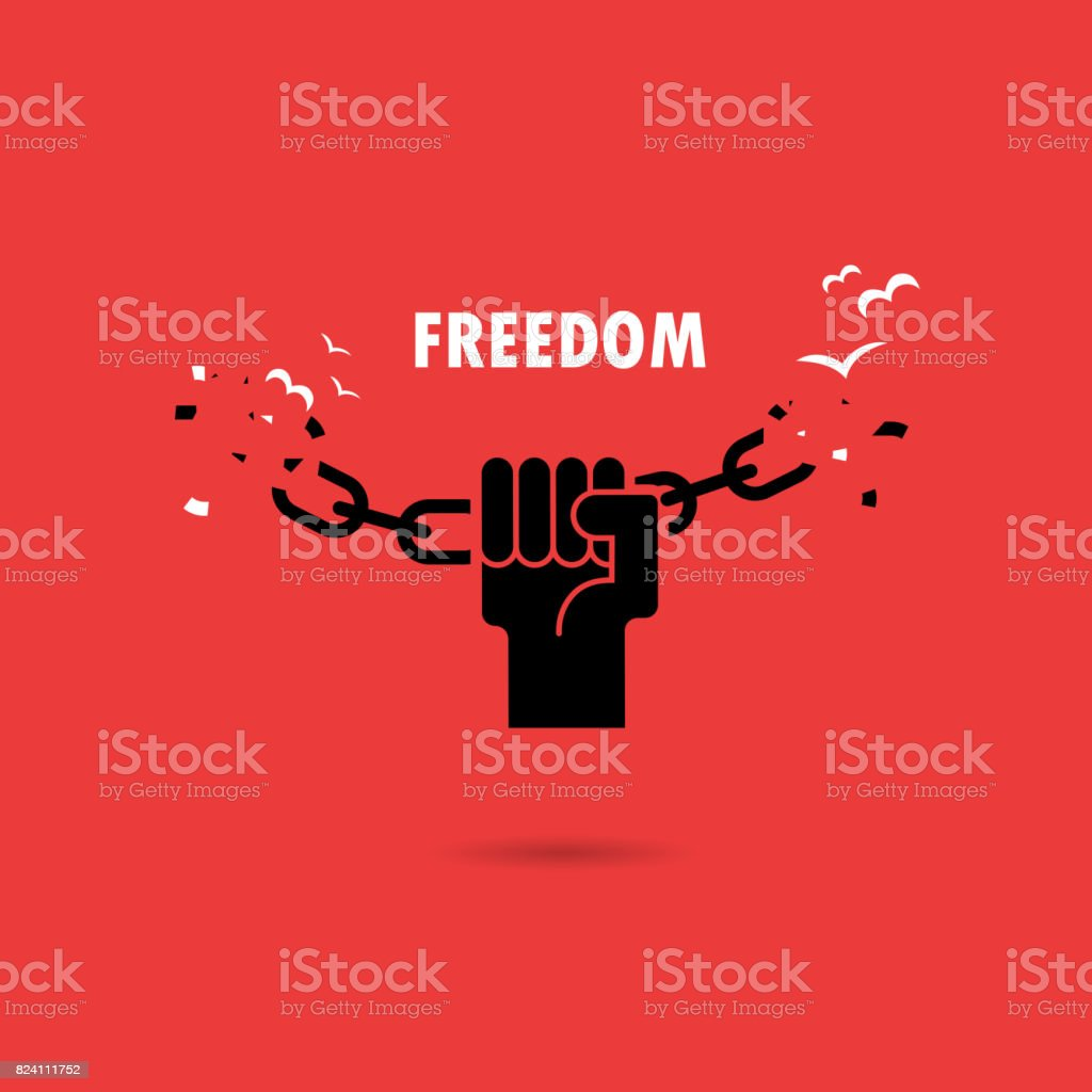 Human hands and broken chain with the bird symbols.Freedom concept.Vector illustration vector art illustration