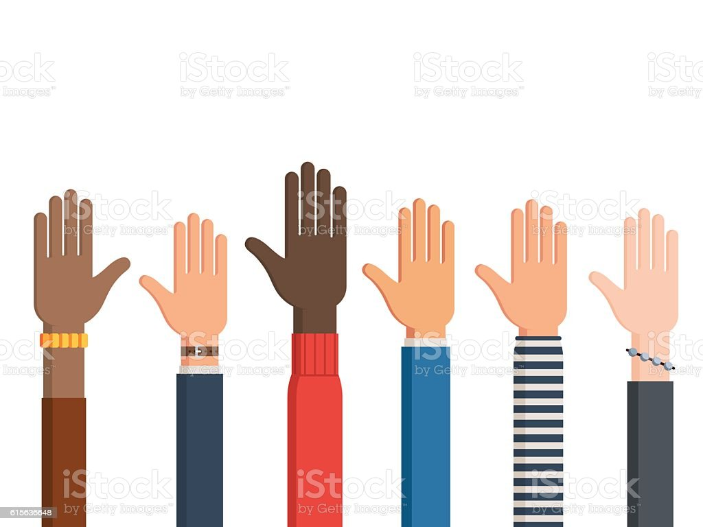 Human hands and one left hand vector art illustration