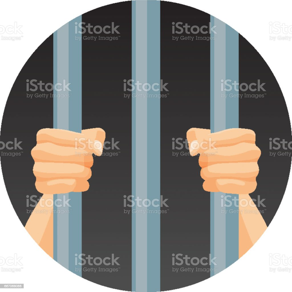 Human hands behind bars in round circle isolated on white vector art illustration
