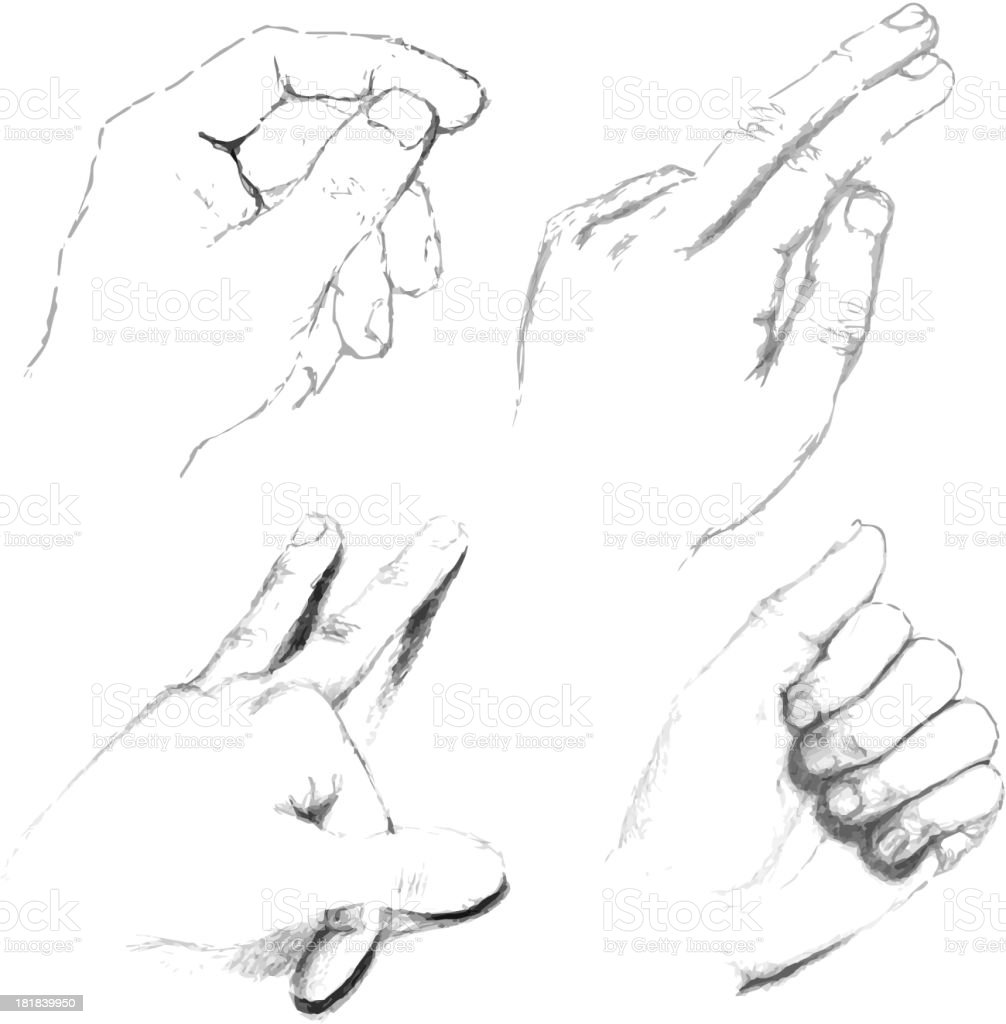 Human hands black white pencil sketch stock illustration