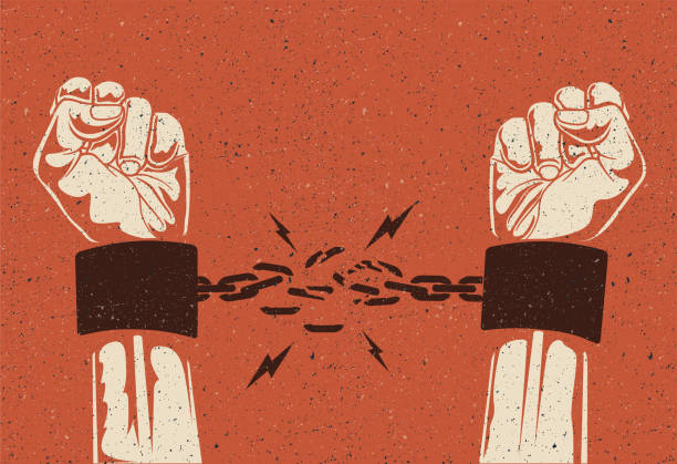 Human hands break the chain. Freedom release concept. Broken chain. Vintage styled vector illustration. Human hands break the chain. Freedom release concept. Broken chain. Vintage styled vector EPS 10 illustration. freedom stock illustrations