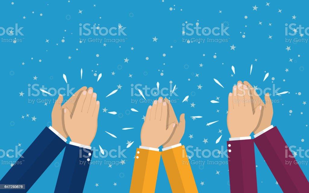Human hands clapping. applaud hands. vector art illustration