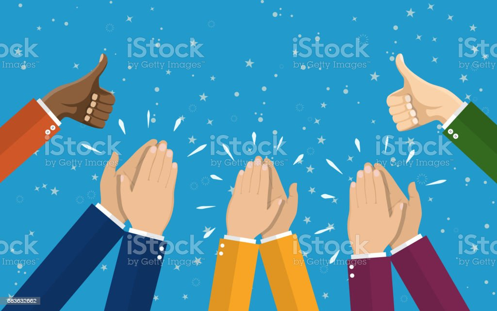 Human hands clapping. applaud hands. vector art illustration