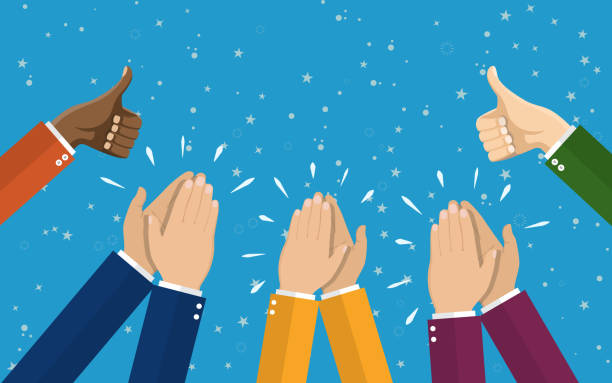 human hands clapping. applaud hands. - congratulations stock illustrations, clip art, cartoons, & icons