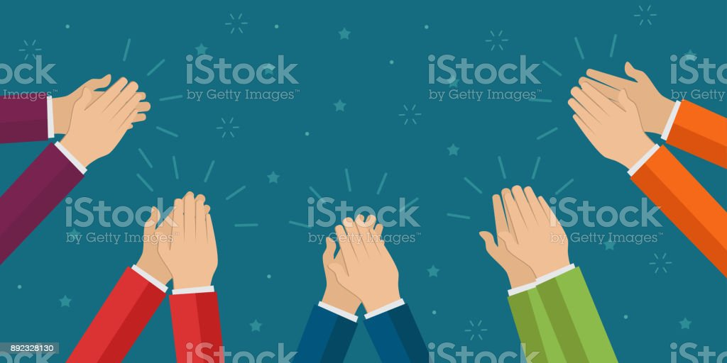 Human hands clapping. Applaud hands vector art illustration