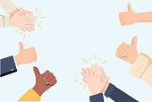 Human hands clapping. Applaud hands. Vector illustration in flat style. Many Hands clapping ovation and thumps up