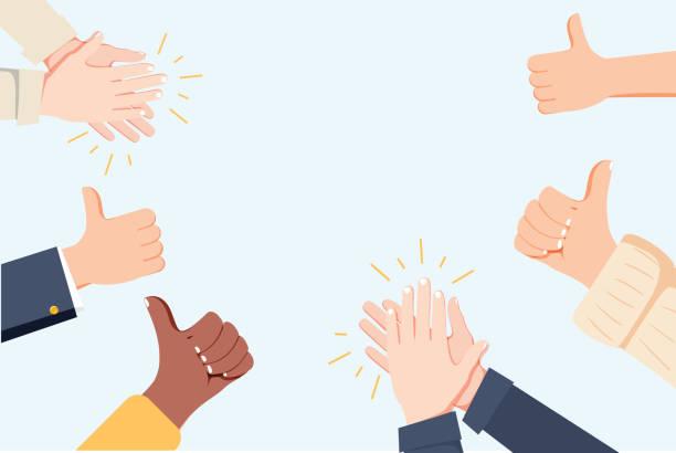 ludzkie ręce klaskanie. pochwal ręce. ilustracja wektorowa w stylu płaskim. wiele rąk klaskanie owacje i thumps w górę - praca zespołowa stock illustrations